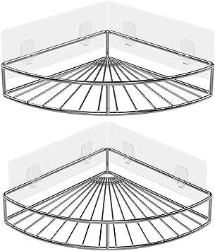Oriware Adh/ésif /Étag/ère dangle Serviteurs de Douche avec Porte-Savon Salle-de-Bains Triangulaire pour Rangement Acier Inoxydable sans Percer Lot De 3