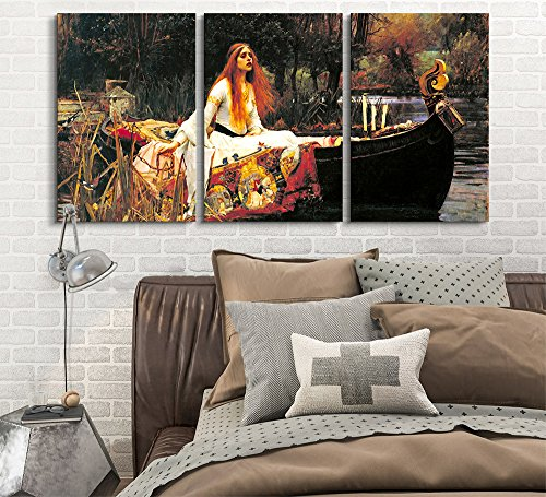 wall26 3 Panel World Famous Painting Reproduction on Canvas Wall Art - The Lady of Shalott by John William Waterhouse - Modern Home Decor Ready to Hang - 16