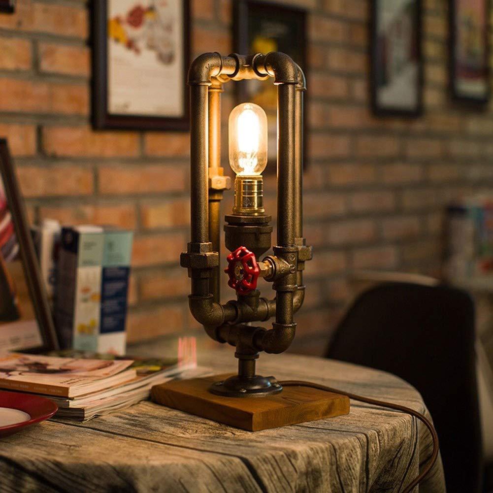 クリエイティブテーブルランプレトロデスクランププラグインベッドサイドライト錬鉄製ランプ勉強に適して寝室バーバー家の装飾照明E27光源 B07RWT2X8T