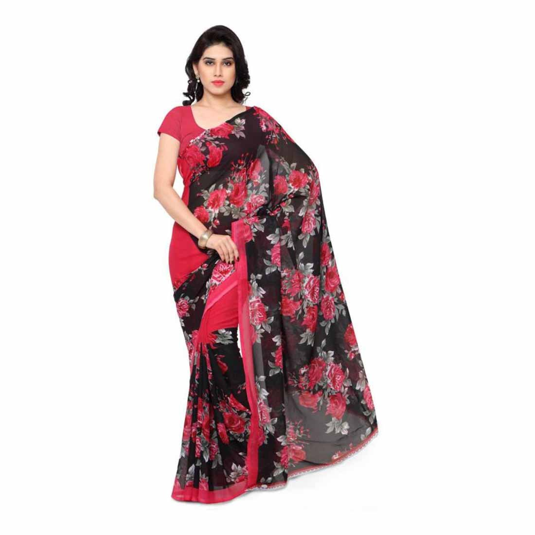 Indian Handicrfats Export Printed Daily Wear Synthetic Georgette Saree (Red) FKSAR-0068