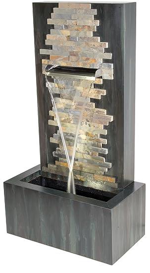 Ambienté Fontaine Dante en Zinc et Briques en Pierre avec éclairage ...