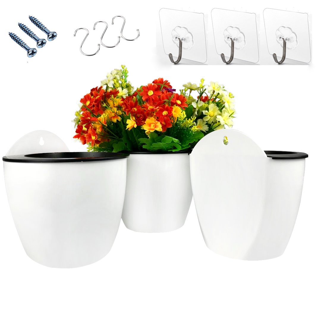 3 Pack Hanging Planter Pots Self Watering Vertical Garden Wall Mount Window Hang Round Plastic Container Indoor Outdoor for Plants Flowers Succulent Kitchen Living Herbs Holder Decor Decoration White