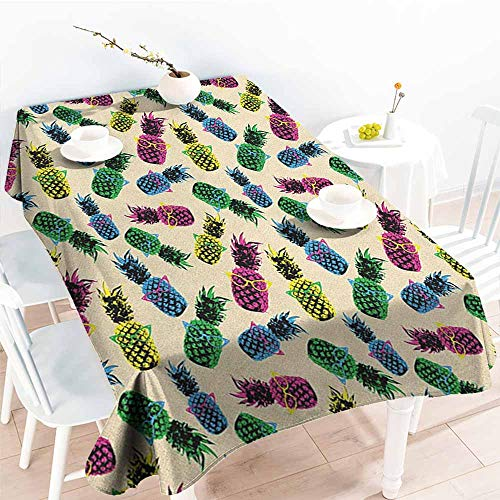 (EwaskyOnline Anti-Fading Tablecloths,Indie Retro 80s Summer Pattern Tropical Fruit Pineapple Vintage Glasses in Vibrant Colors,Table Cover for Kitchen Dinning Tabletop Decoratio,W60X102L, Multicolor)