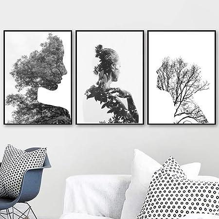 zxddzl Resumen Mujer árbol Flor Cartel e impresión Mural ...