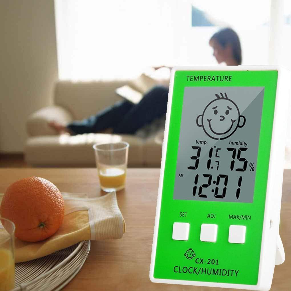 Lorsoul Meter Baby Face Comfort Visualizzazione Livello CX-201 Termometro Digitale LCD igrometro di umidit/à dellorologio di Temperatura Stazione Meteo