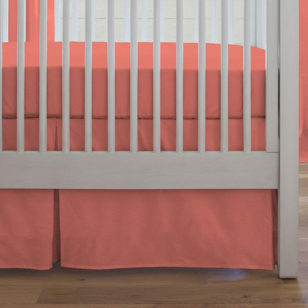 Carousel Designs Solid Coral Crib Skirt Box Pleat 20-Inch Length