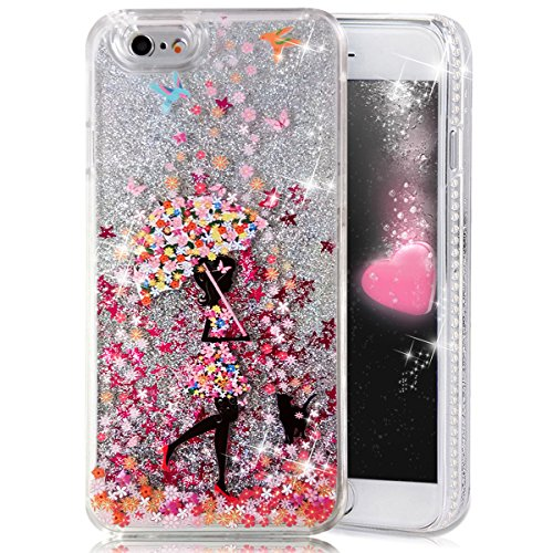 iPhone 6 Plus Case,Crazy Panda® 3D Creative Liquid Glitter Design iPhone 6 Plus Liquid Quicksand Bling Adorable flowing Floating Moving Shine Glitter Case iPhone 6 Plus/6S Plus - Flowers Rain