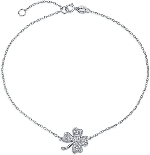 925 Sterling Silver Clover Silver with Cubic Zirconia CZ Charm Bracelet