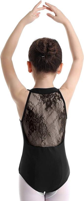 iEFiEL Kids Girls Sleeveless Mesh Splice Ballet Dance Gymnastics Leotard Criss-cross Back Bodysuit Dancing Costumes