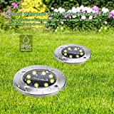 TONBUX Solar Ground Lights, Upgraded Garden Pathway Lights Outdoor Waterproof Warm White With 8 LED (4 pack) for Driveway, Deck, Garden, Landscape Lighting