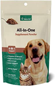 NaturVet All-in-One Dog Supplement - for Joint Support, Digestion, Skin, Coat Care – Dog Vitamins, Minerals, Omega-3, 6, 9 – Wheat-Free Supplements for Dogs – 13-Ounce Powder