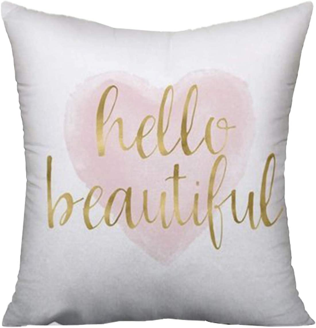 Jagfhhs Hello Beautiful Throw Pillow Covers Blush Pink Gold Watercolor Heart Cushion Pillowcase Decorative 16x16 Inch Home Kitchen