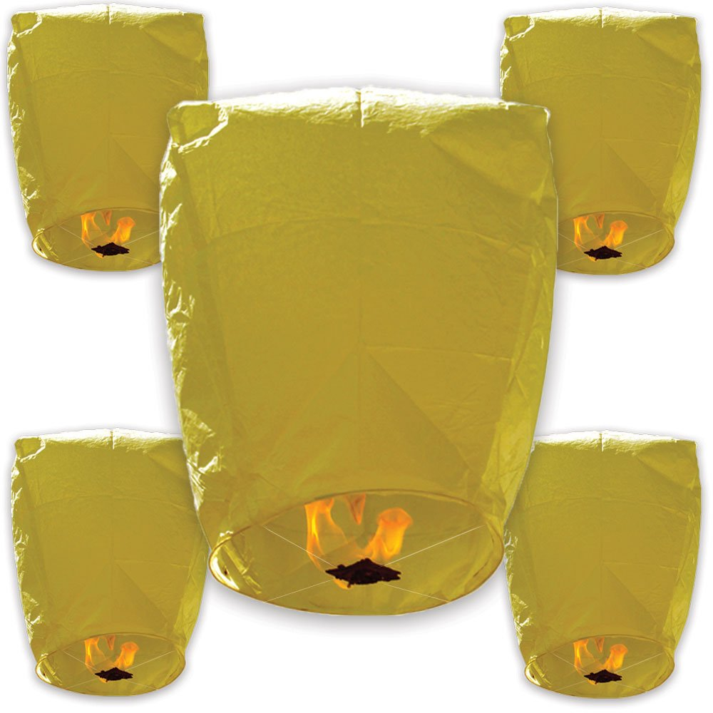 Just Artifacts 40 ECO Wire-Free Flying Chinese Sky Lanterns (Set of 40, Wire-Free Eclipse, Yellow) - 100% Biodegradable, Environmentally Friendly Lanterns! by Just Artifacts