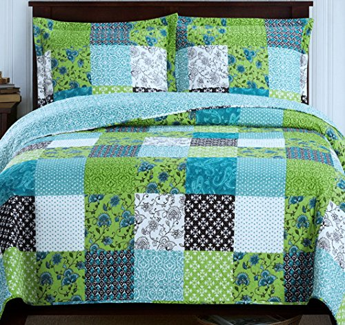 Finely Stitched 2-Piece Quilt Coverlet Set Twin XL/Twin Size (68x90), Rustic Country Decor Plaid Floral Patchwork Pattern, Reversible Lightweight Bedroom Bedspread All Season, 1 Quilt +1 Pillow Sham ()