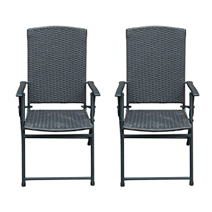 SunLife Folding Rattan Chairs Outdoor Indoor Foldable Camping Garden  Furniture Chairs, Set Of 2,