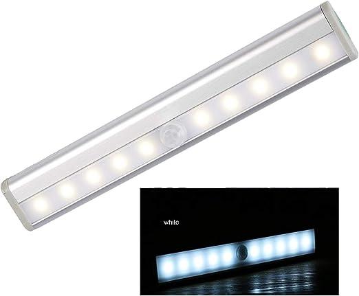 YESIAM Luz Nocturna Luces Armario Con Sensor Movimiento 10 Led Del Sensor De Movimiento inalámbrico portátil Noche/Escaleras/Barra de luces del armario, Blanco: Amazon.es: Iluminación