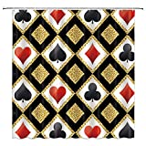 Poker Cards Shower Curtain Decor, Casino Black Red Heart Spade Diamond Club Bright Golden Diamonds, 70 x 70 inches Waterproof Mildew Resistant Polyester Fabric Machine Washable with 12pcs Hooks