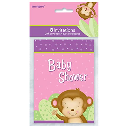 Amazon girl monkey baby shower invitations 8ct kitchen dining girl monkey baby shower invitations 8ct filmwisefo