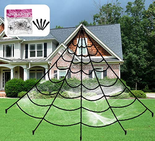 Aiduy Outdoor Halloween Decorations Scary Giant Spider Web Decorations Creepy Decor with Super Stretch Cobweb Set for Halloween Yard Decorations, 16 Ft]()