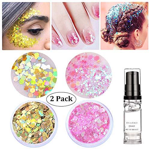 Gold Holographic Face Glitter ✮ HITOP Hair glitter gel ✮ 20g Festival Chunky Glitter,2 Pack Body Glitter with Gel,Makeup Accessories Face Body Hair Nails (Gold and (Sf Raves Halloween)