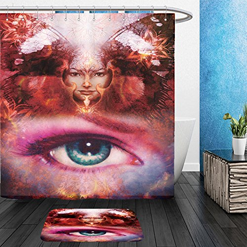 Vanfan Bathroom 2?Suits 1 Shower Curtains & ?1 Floor Mats beautiful painting goddess woman with bird phoenix on your face with ornamental mandala and 357388043 From Bath (Cute Face Painting Ideas For Halloween)