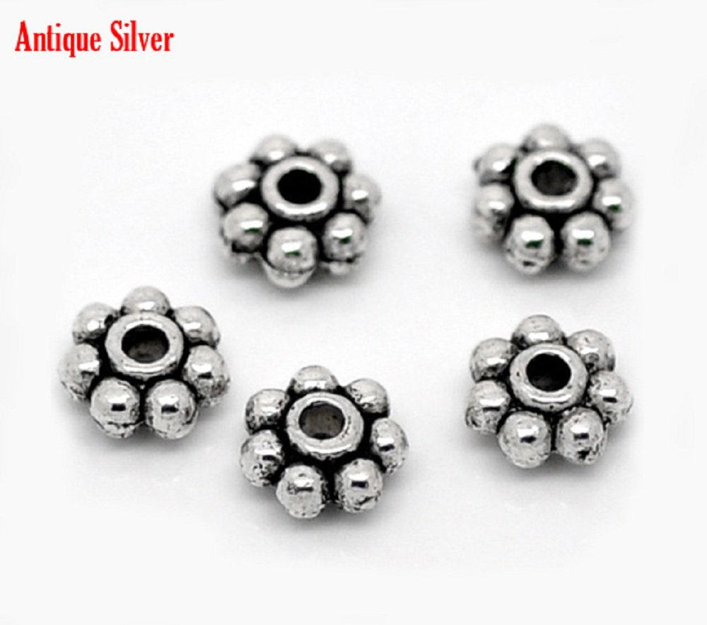 100 x 4mm Tibetan Silver Daisy Spacer Beads Bead - (Crafts - Jewellery Making Beads - Fashion Charms - Jewelry Accessories - Jewellery Findings 2s) AEQW-WER-AW123956