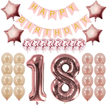 amazon com rose gold 18th birthday decorations party supplies gifts
