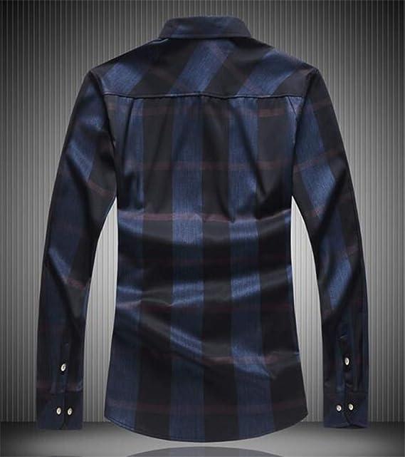 BU2H Men Slim Fit Button Front Long Sleeve Cotton Plaid Shirts