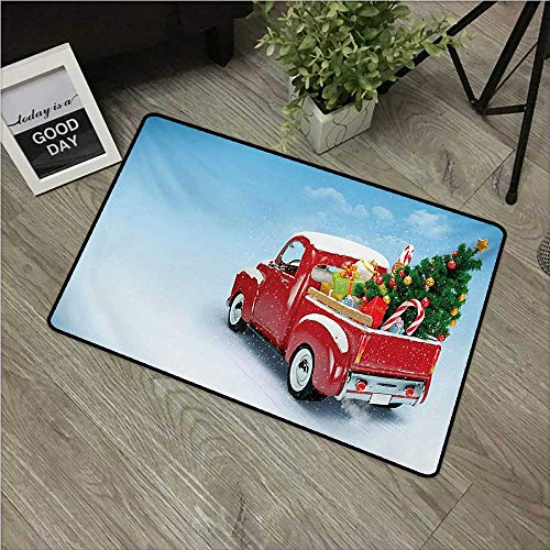"HRoomDecor Christmas,Anti-Slip Doormat Red Classical Pickup Truck with Tree Gifts and Ornaments Snowy Winter Day Image W 24"" x L 35"" Small Outdoor mats Blue Red"