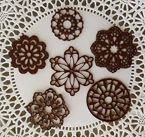 25 Edible Chocolate Lace Small Mini 6 Design Lace Doily - Cupcake, Cake, Cake Pop, Petite Four, Coffee, or Tea