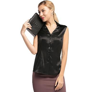 e7e677744d LilySilk Silk Long Shirts for Women Sleeveless Button Front V-Neck Shirt  Collar 100 Pure