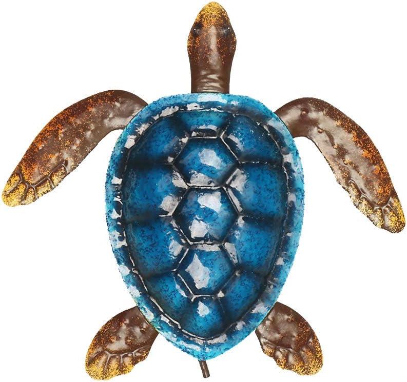 GEZICHTA Sea Turtle Wall Art Metal Wall Hanging Sculpture,Metal Garden Wall Art Decoration, Colorful Turtle Wall Hanging Gift,Home Decoration Colorful Coast Ocean Sea Animal Sculpture
