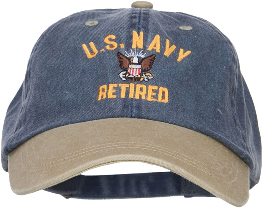 e4Hats.com US Navy Retired Military Embroidered Two Tone Cap