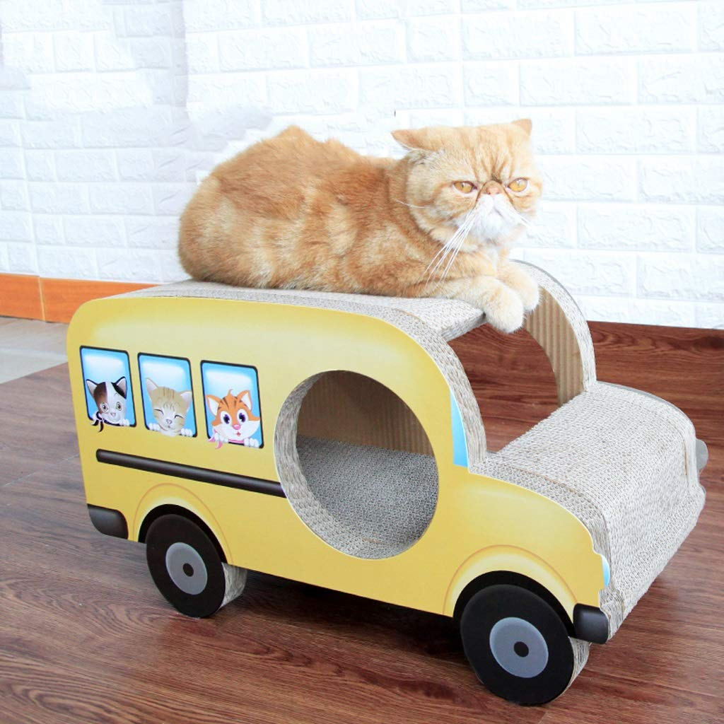 CXQ Creative Yellow Bus Small Model Cat Scratch Board Comfortable And Breathable Cat Litter Sofa Cat Climbing Frame Cat Toy Pet Supplies