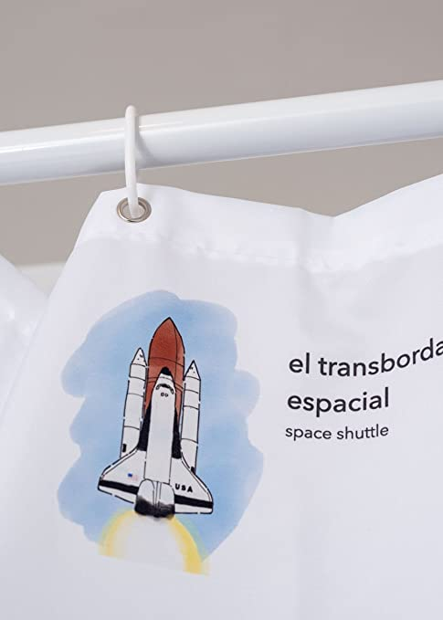 Amazon.com: Kids Educational Shower Curtain Spanish/English Vocabulary: Baby