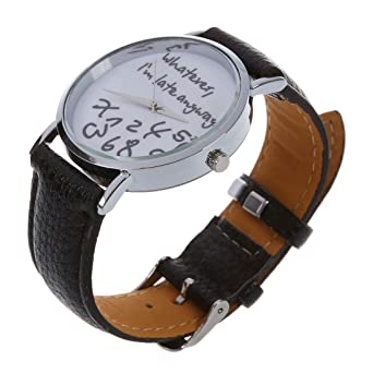 """Whatever I am Late Anyway"" Inglés alfabeto reloj de pulsera – SODIAL ("