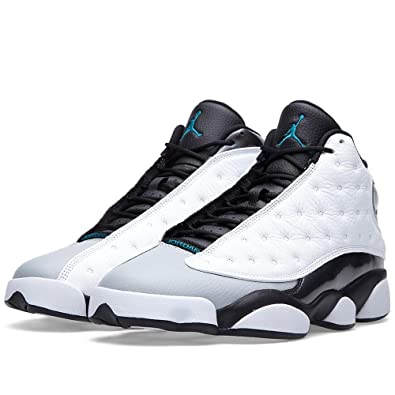 best website 93bce 4a3f8 Amazon.com | Men's Air Jordan 13 Retro White/Tropical Teal ...