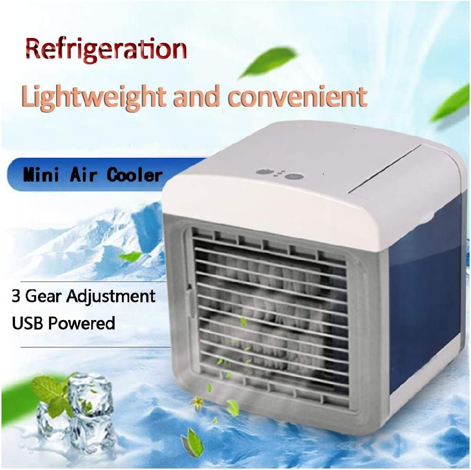 Personal Air Cooler, 2020 Rechargeable Water-Cooled Air Conditioner High Capacity, Portable Electric Fan, USB Battery Powered, Cooling/Humidification/Purification for Home Small Room/Office