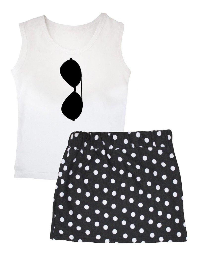 Petitebella Sunglasses White Vest Polka Dots Black Skirt Set 1-8y (6-8 Years)