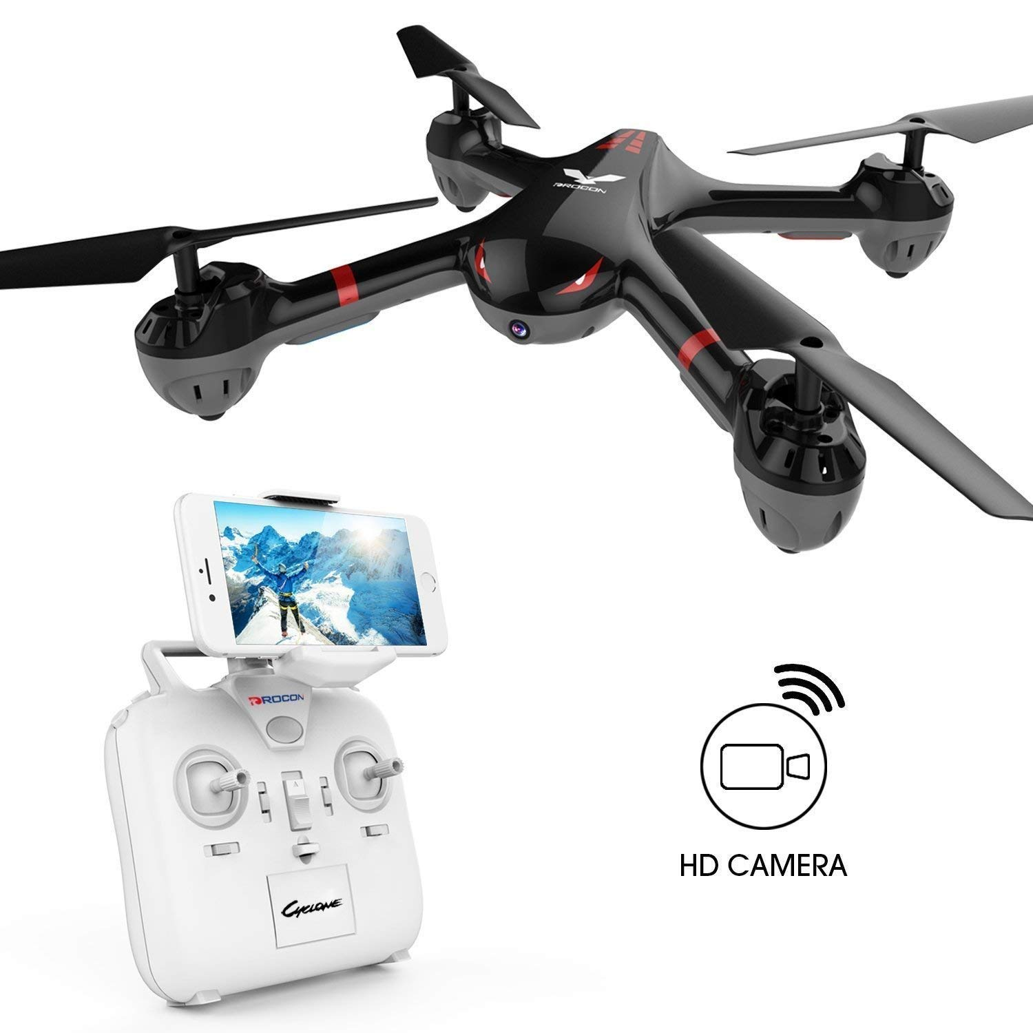 DROCON Drone for Beginners X708W Wi-Fi FPV Training Quadcopter with HD Camera Equipped with Headless Mode One Key Return Easy Operation by DROCON