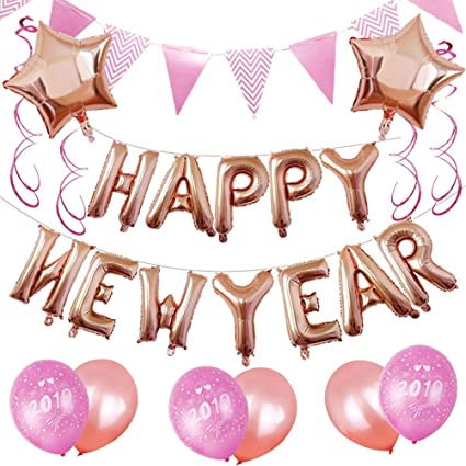 bestoyard happy new year balloons new years decoration 16 inch letters foil balloon star balloons round