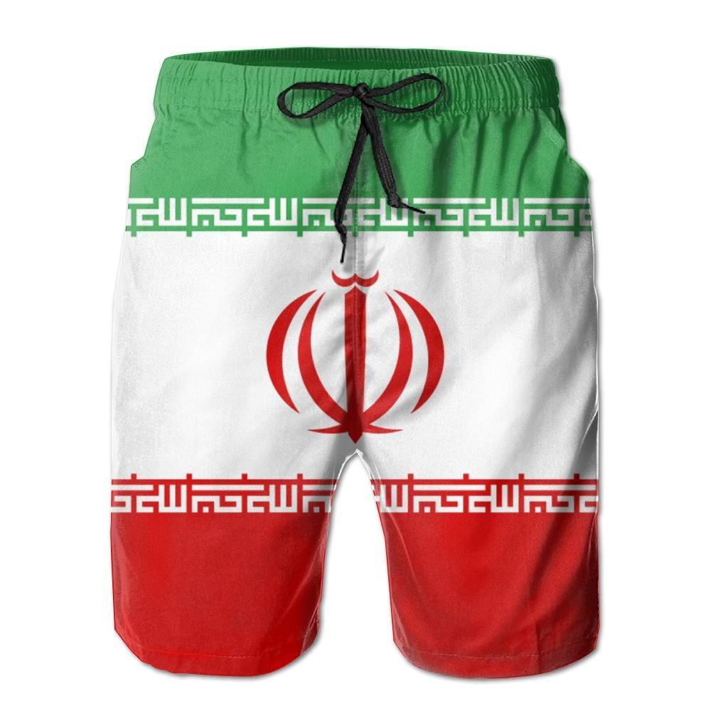 New Cartoon Fashion Flag Of Iran Summer Beach Pants Casual Shorts For Man