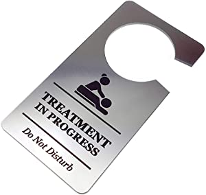 OriginDesigned Treatment in Progress Do Not Disturb Room Door Hanger Sign Silver Acrylic - for Salons, Massage Parlour, Holistic Therapies, Beauty Therapy, Chiropractor, Osteopathy