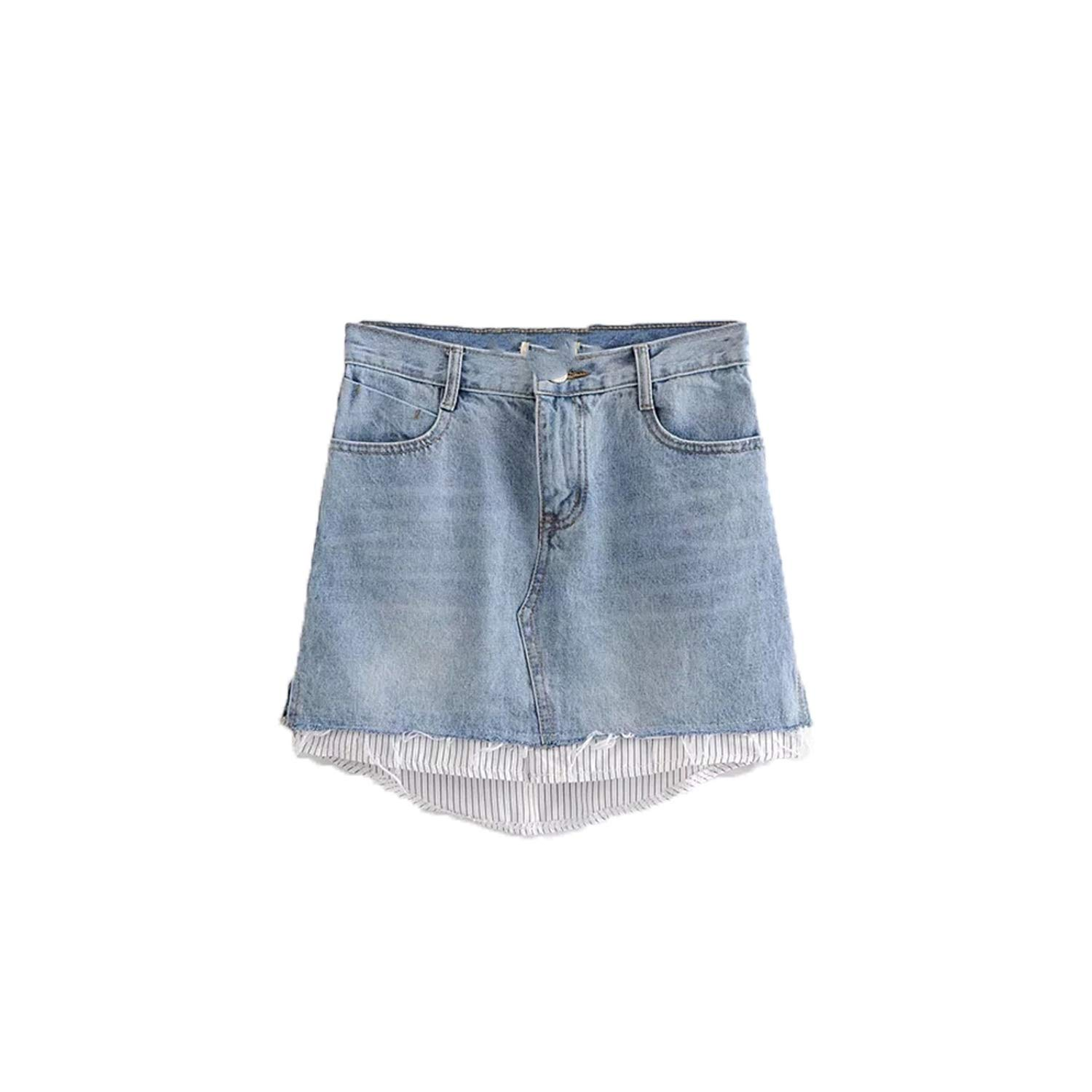 bluee Heart to hear Skirts High Street Women Denim Skirt Patchwork High Waist Ladies Streetwerr,