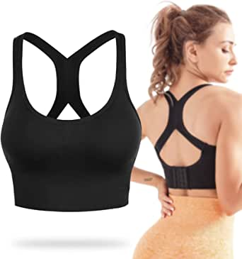 High Impact Cross Back Sports Bras for Women,Adjustable Padded Workout Bras