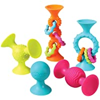 Fat Brain Toys PipSquigz Combo Set - 2 PipSquigz Loops and 3 Rattling PipSquigz in Zippered Storage Case - BPA-Free…