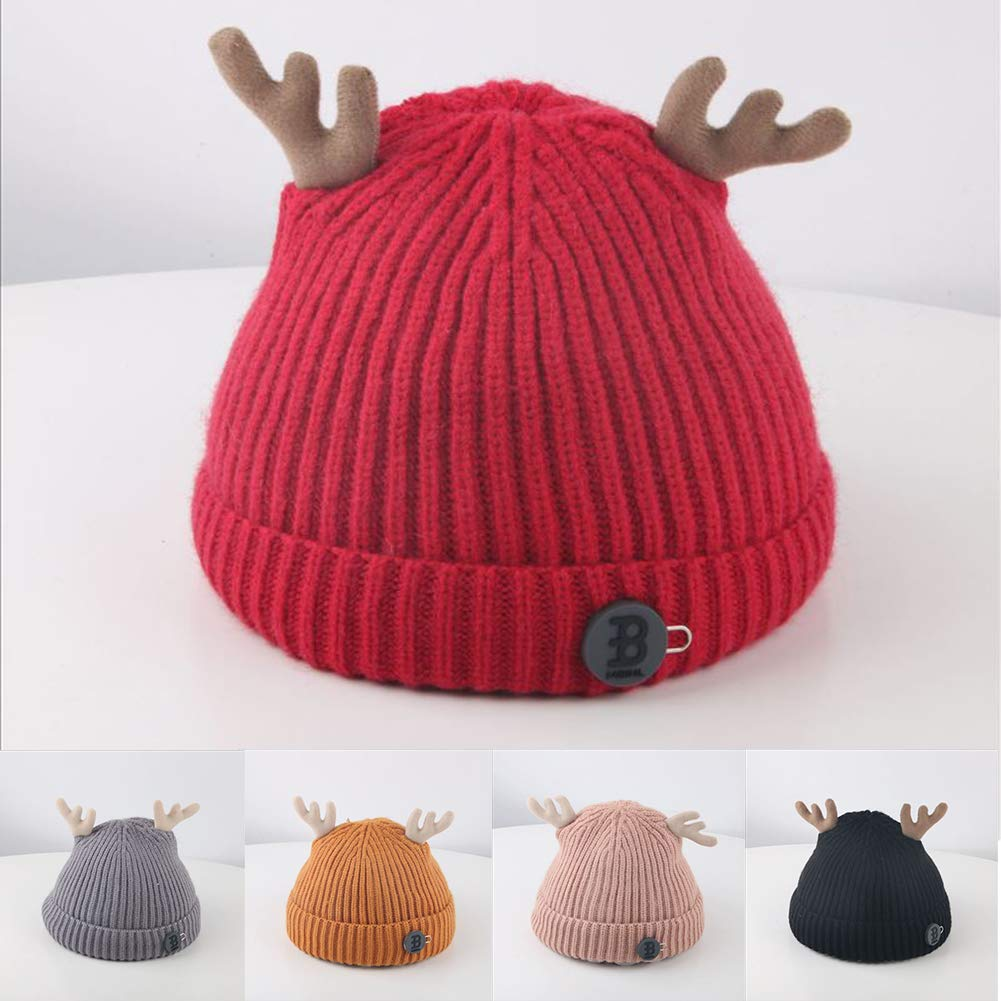 Infgreate Clearance Sale Stylish Warm Hat Winter Outdoor Baby Boy Girl Antler Solid Color Beanie Cap Warm Knitted Hat