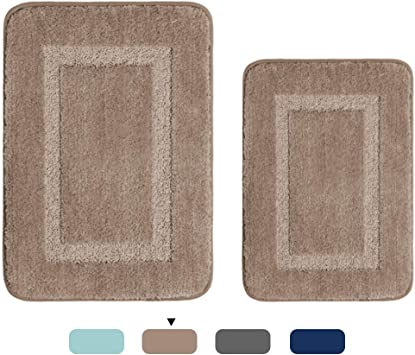 H.Versailtex Upgrade Non-Slip Bathroom Rug Shag TPR Backing Shower Mat Machine-Washable Tufted Bath Rugs for Kitchen Gray Carved Concentric Rectangle Pattern 1 Pack 20 inches by 32 inches