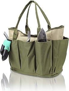 Garden Tools Bag - Gardening Storage Tote with Pockets for Women/Men's Garden Work, Good Ox-Ford Organizer Keep Tools Neaty (Khaki)