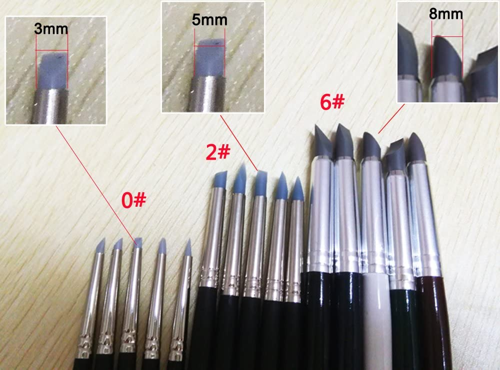COMIART Clay Sculpture Tools Silicon Color Shapers Painting Brushes Size 6